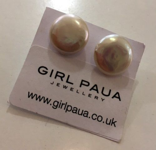 Freshwater Pearl Stud Earrings (White Coin) FE04-WC